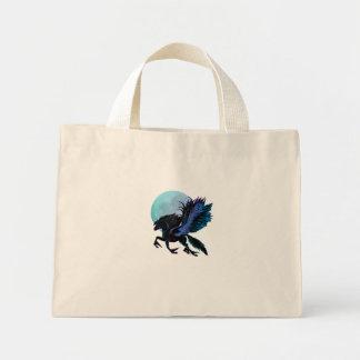 Bolso de Pegaso negro y de la luna azul Bolsa Tela Pequeña