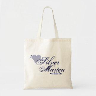 Bolso de plata de los conejos de la marta bolsa de mano
