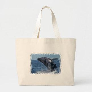Bolso de salto de la lona de la ballena jorobada bolsa tela grande