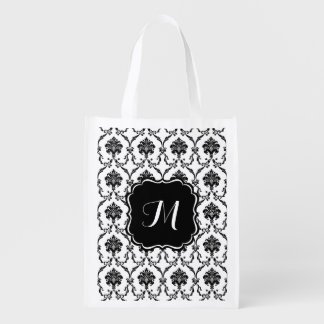 Bolso de ultramarinos adaptable del damasco negro bolsas de la compra