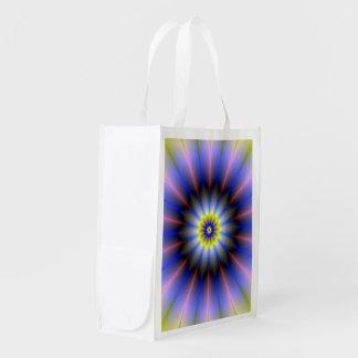 Bolso de ultramarinos azul y amarillo del rosetón bolsa para la compra
