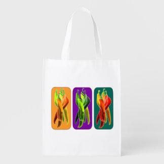Bolso de ultramarinos colorido de las pimientas de bolsa de la compra