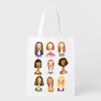 Bolso de ultramarinos colorido de los chicas bolsa reutilizable