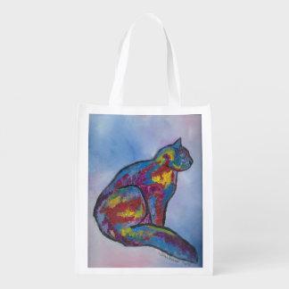 Bolso de ultramarinos colorido del gato bolsa de la compra