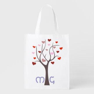 Bolso de ultramarinos con monograma con el árbol 1 bolsas reutilizables