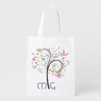 Bolso de ultramarinos con monograma con el árbol bolsas reutilizables