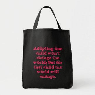 Bolso de ultramarinos de la cita de la adopción bolsa tela para la compra