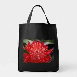 Bolso de ultramarinos de la flor de Bromeliad Bolsa Tela Para La Compra