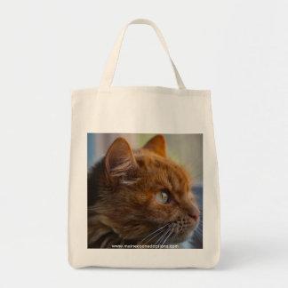 Bolso de ultramarinos de la lona, gato principal bolsa tela para la compra