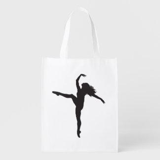 Bolso de ultramarinos de la silueta del bailarín d bolsas de la compra