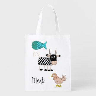 Bolso de ultramarinos de las carnes del dibujo ani bolsas de la compra