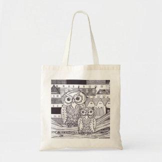 Bolso de ultramarinos de los búhos de la ciudad bolsa tela barata