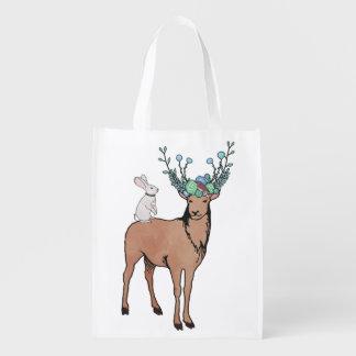 Bolso de ultramarinos de los ciervos y del conejo bolsa para la compra