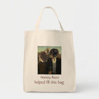 Bolso de ultramarinos de los granjeros de la abeja bolsa tela para la compra