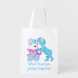 Bolso de ultramarinos de los pares del oso de bolsas de la compra