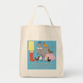 Bolso de ultramarinos del chica de granja bolsa tela para la compra