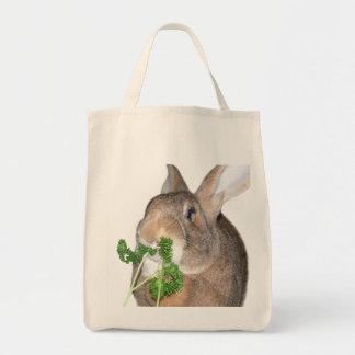 Bolso de ultramarinos del conejito bolsa tela para la compra