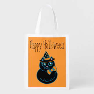 Bolso de ultramarinos del gato de Halloween Bolsas Reutilizables