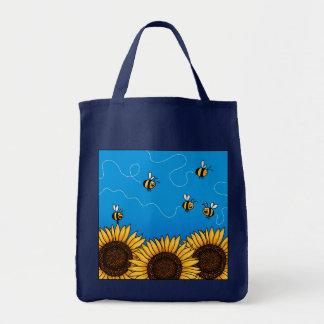 bolso de ultramarinos del girasol del rastro de la bolsa tela para la compra