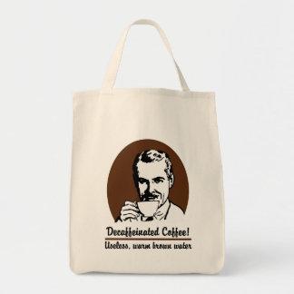 Bolso de ultramarinos del tote del café descafeina bolsa tela para la compra