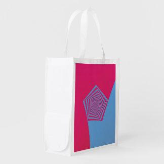 Bolso de ultramarinos espiral rosado y azul de bolsas reutilizables