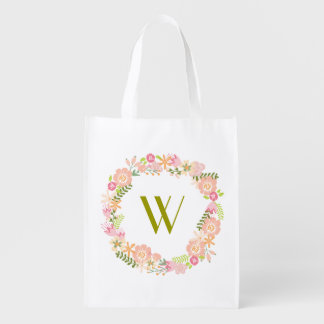 Bolso de ultramarinos floral del monograma de la bolsa de la compra