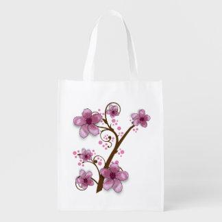 Bolso de ultramarinos floral rosado hermoso bolsa para la compra