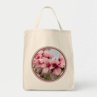 Bolso de ultramarinos floreciente rosado de la ram bolsa tela para la compra