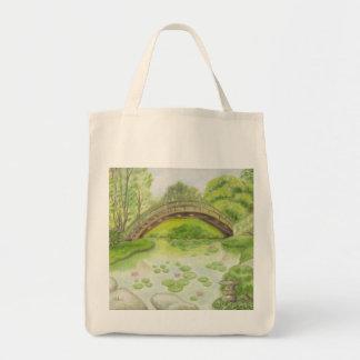 Bolso de ultramarinos japonés del jardín bolsa tela para la compra