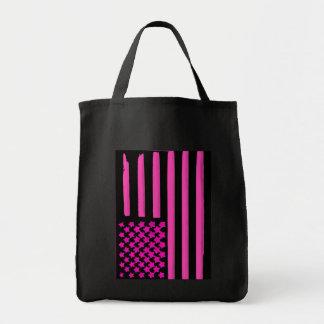 Bolso de ultramarinos negro rosado del grunge de l bolsa tela para la compra