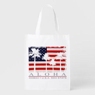 Bolso de ultramarinos patriótico de la hawaiana de bolsas de la compra