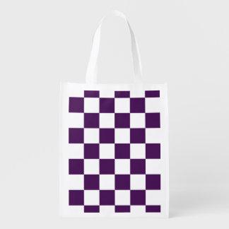 Bolso de ultramarinos púrpura y blanco a cuadros bolsa reutilizable