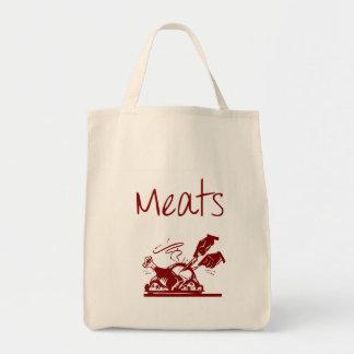 Bolso de ultramarinos reutilizable de la carne bolsa de mano