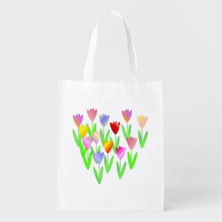 Bolso de ultramarinos reutilizable de los tulipane bolsas para la compra