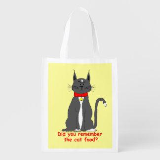 ¡Bolso de ultramarinos reutilizable del gato malhu Bolsas Para La Compra