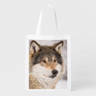 Bolso de ultramarinos reutilizable del lobo bolsas reutilizables