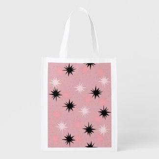 Bolso de ultramarinos reutilizable rosado atómico bolsas reutilizables