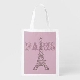 Bolso de ultramarinos reutilizable rosado bolsas de la compra