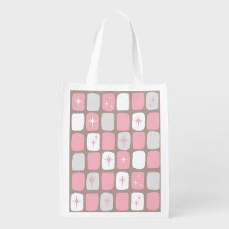Bolso de ultramarinos reutilizable rosado retro de bolsas reutilizables