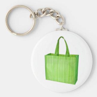 Bolso de ultramarinos reutilizable verde vacío llavero