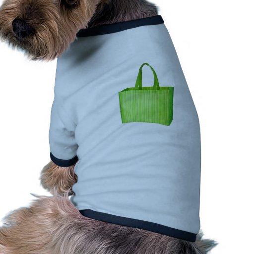Bolso de ultramarinos reutilizable verde vacío camisa de perrito