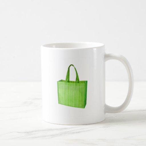 Bolso de ultramarinos reutilizable verde vacío taza
