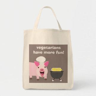 Bolso de ultramarinos vegetariano del cerdo bolsa tela para la compra