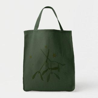 Bolso de ultramarinos verde del navidad del muérda bolsas