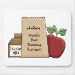 ¡Bolso del almuerzo/profesor ayudante de los Apple Alfombrilla De Ratones