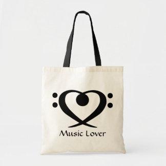 Bolso del amante de la música del corazón del Clef Bolsas