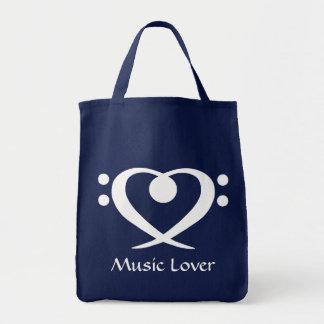 Bolso del amante de la música del corazón del Clef Bolsa