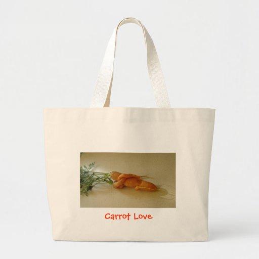 Bolso del amor de la zanahoria bolsa tela grande