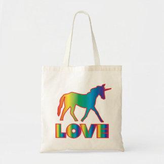 Bolso del amor del unicornio (arco iris) bolsa tela barata