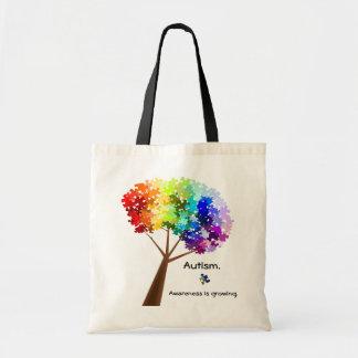 Bolso del árbol de la conciencia del autismo bolsas lienzo